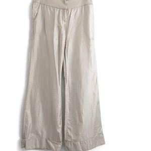 Arden B. Cotton/Silk Shiny Wide Leg Pants O0287